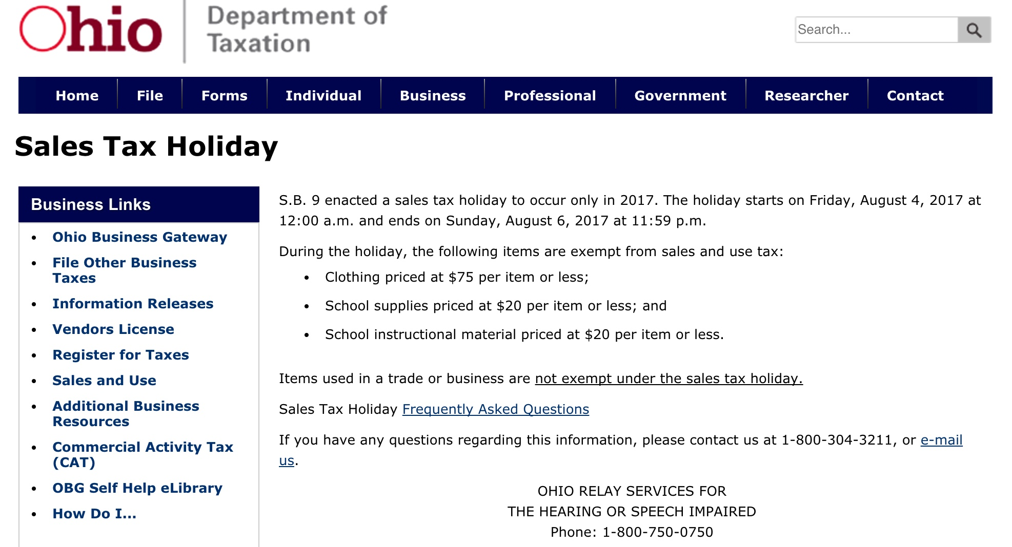 Sales Tax Holiday 2017