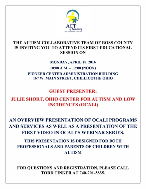 Autism Collaborative Team of Ross County Educational Session Flyer - April 18 2016
