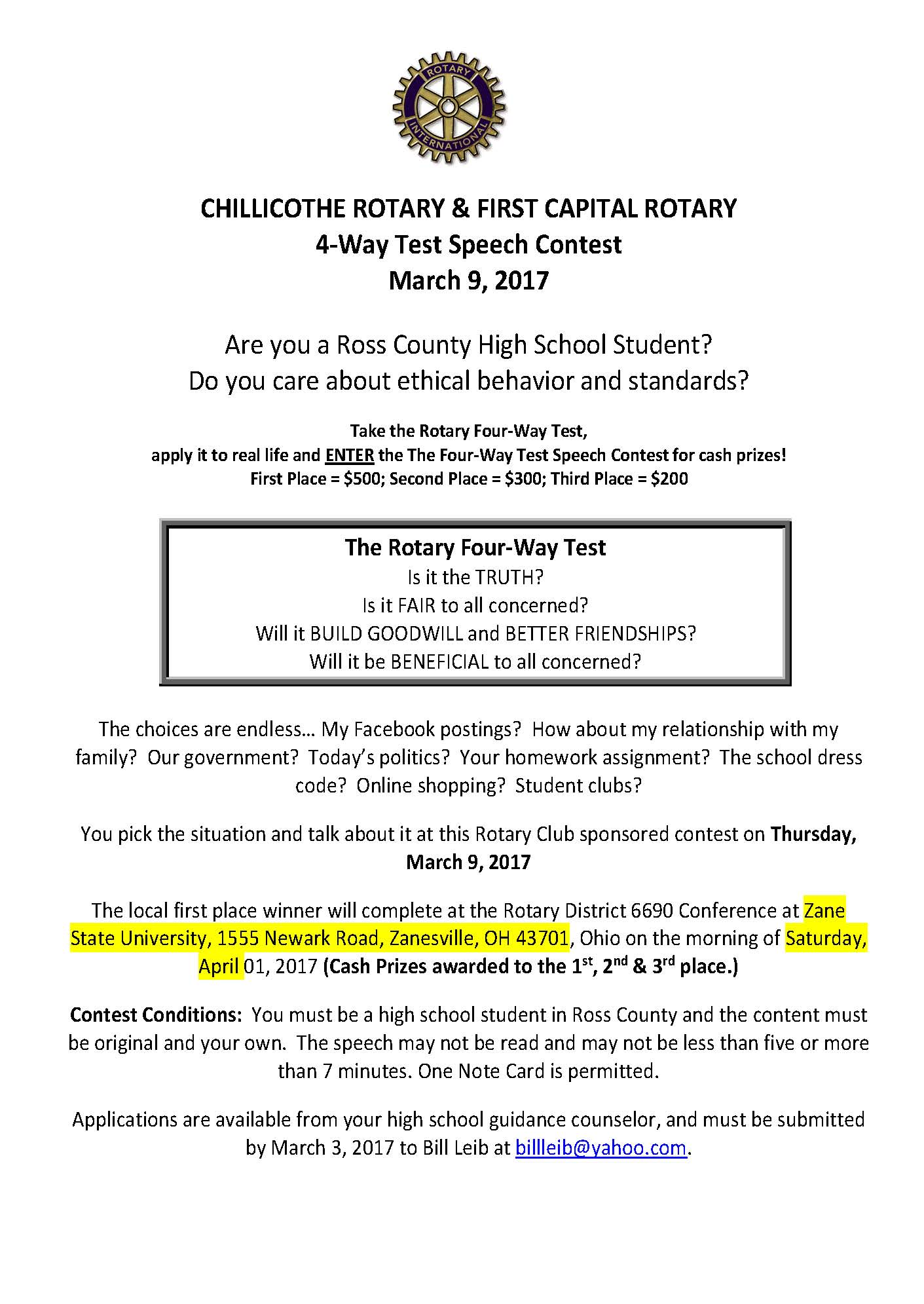 Compete in the Rotary 4 way Speech Contest - Chillicothe High School