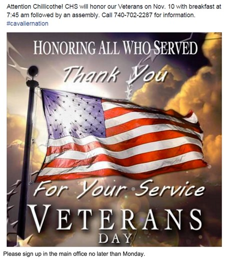 Attention Chillicothe! CHS will honor our Veterans on Nov. 10 with breakfast at 7:45am followed by an assembly. Call 740-702-2287. #cavaliernation